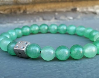 Green Aventurine Dice Power Bracelet,  Healing Crystals,  Good Luck, Gambling, Abundance,  Money, Fortune, FREE USA SHIPPING