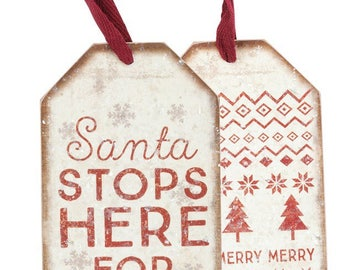 Bottle Tag - Santa Stops Here