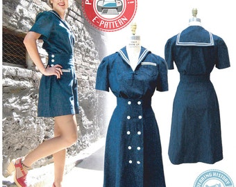 1940s Sailor Girl Play Suit- Blouse, Shorts, Skirt- Wearing History PDF Sewing Pattern
