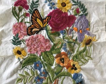 Crewel Embroidered Fabric Piece/ Vintage Crewel Embroidered Fabric/