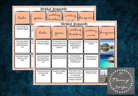Bridal Shower Jeopardy Game Instant Download
