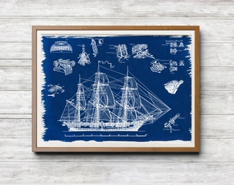 Imperial Russian Navy Ship 'Mirny' A4 Hand coated traditionally made cyanotype blueprint