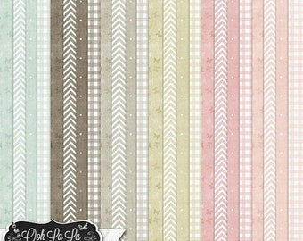 On Sale 50% Shabby Chic,Patterned 12x12 Papers,Backgrounds,Digital Scrapbook Kit, Scrapbooking