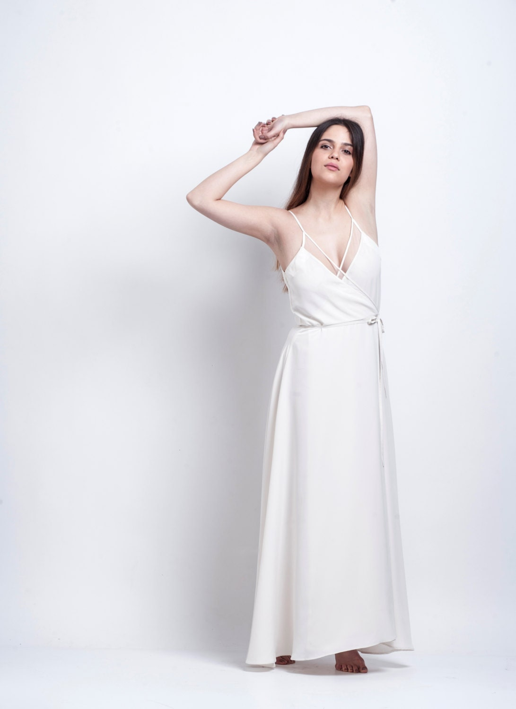 dress Wrap white maxi dress Bridal maxi dress