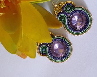 soutache earrings violet