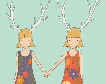 Twins Print, Fine Art Print by Kate Durkin, Nursery Art