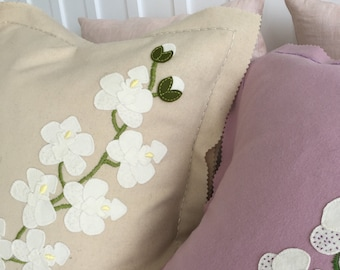EMBROIDERY APPLIQUE KIT Bespoke  Moth Orchid cushion kit in pure wool.