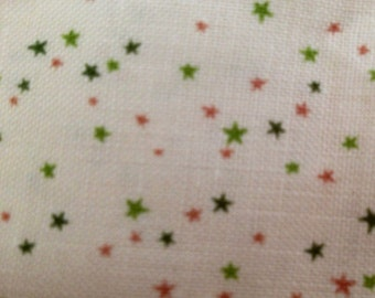 Super tiny tossed green and pink stars cotton fabric BTY by the yard