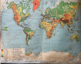 Map Maps Pull Down Etsy - Authentic world map