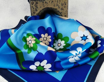 Funky Blue Flower Scarf - Mother's Day Gift - Colour Pop Scarf - Gift for Women - Bright Blue Scarf - Vintage Square Scarf - Japanese Scarf