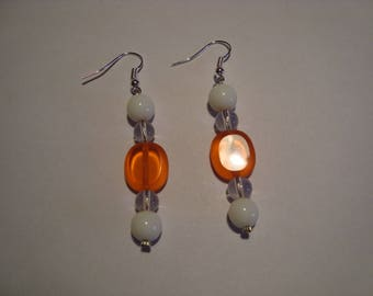 Earrings Orange and white