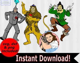 Wizard of Oz clipart, Wizard of Oz SVG, svg files, wizard of oz dorothy, cowardly lion,birthday, dxf, files for silhouette, files for cricut
