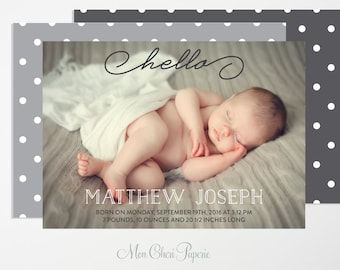 Birth Announcement Hello - Baby Boy Or Girl Birth Announcement - Birth Notification Card   - Digital or Printed