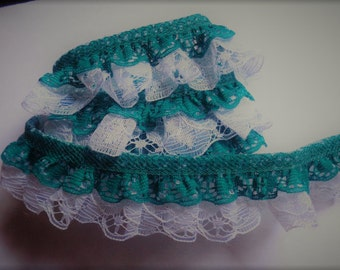 1.125 inch Double Gathered Lace, teal-white selling by the yard