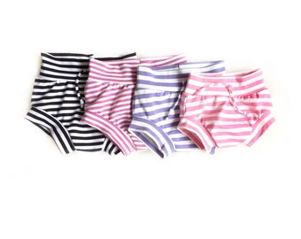 Girls shorties, bummies, girls diaper cover, baby bloomers, bubble shorts, toddler diaper cover, striped shorties, toddler shorts