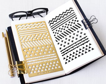 Planner Stencil, Bullet Journal Stencil, Pattern Stencil - fits A5 journal & Midori Regular (Pattern L)