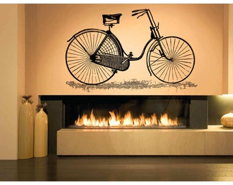Wall Decal Room Sticker Retro Vintage Bicycle Old Fashion Wheels Nursery bo2979