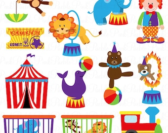 Circus Clip Art Clipart, Carnival Clip Art Clipart, Great for Birthday, Invitations, Party - Commercial and Personal