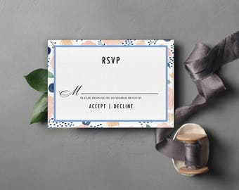 Blushing Bride Response RSVP Cards Wedding Suite Floral Watercolor Blue Pink Editable PDF Instant Downloadable Template Simple DIY Design