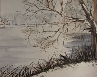 """Original watercolor painting """"snow pond"""" landscape of hollow - framed"""