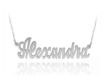 10K, 14K or 18K Solid Gold or Sterling Silver Personalized Name Necklace (Order Any Name) - Yellow Gold, Rose Gold or White Gold