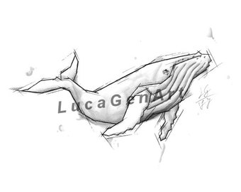 Whale Handmade Drawing, Instant Download, Digital Print, Made in pencil and ink, Tattoo Sketch, Tattoo Flash
