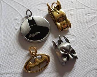 Batman Charms - D.C. Comics Originals - Antiqued Silver & Gold - Batman Mask - Bat Car - Bat Logo - Round Pendant - Qty 4
