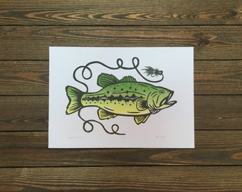 Largemouth Bass On The Fly - Woodcut Letterpress Original Print