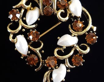 Vintage Lisner Rhinestone and Shell Brooch or Lapel Pin 2""