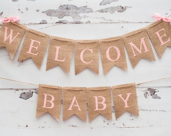 Welcome Baby Banner, Baby Shower Banner, Pink Baby Shower Banner, Welcome Baby Sign, Baby Shower Decor, B104