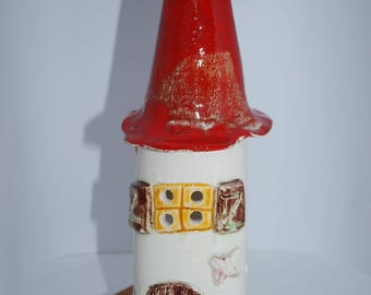 House ceramic candle holder red candle pointed roof, ceramic candle holder