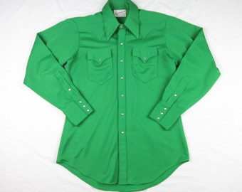 Vintage 1950s Emerald Green Ranch Wear Western Shirt, Pearl Snaps, Mens Sz M