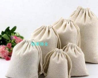 25pc :Natural Organic Cotton Bags Drawstring Bags Pouch Wedding Favor Gift Packaging Bag Jewelry Party Bags
