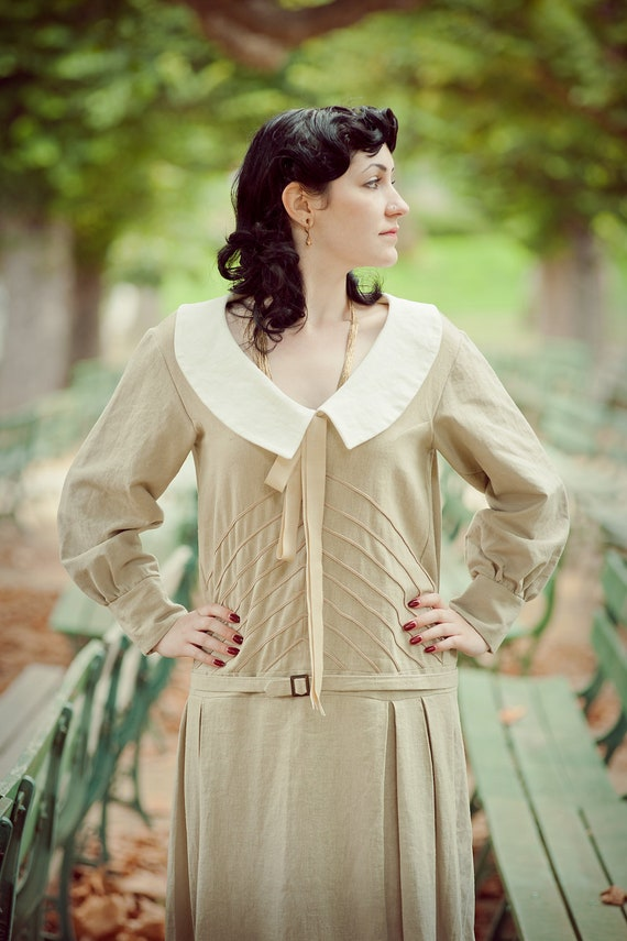 1920s Day Dresses, Tea Dresses, Mature Dresses with Sleeves Carmelina 1920s Sailor FrockCarmelina 1920s Sailor Frock $310.00 AT vintagedancer.com