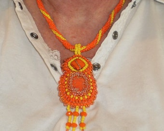 Orange Crush Bead Embroidered Pendant With Spiral Woven Necklace