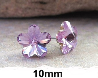 Violet Flower Stud Earrings, 10mm purple studs,  Crystal Studs, Purple Rhinestone Earrings Swarovski, rostone