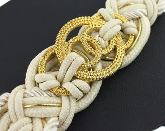 Cream & Gold Braided Rope Vintage Belt with Gold Circles - size medium