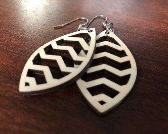 Laser Cut Wooden Earrings/Drop Earrings/Geometrical Earrings/Lightweight Earrings