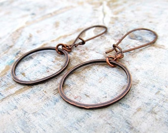 small copper earrings coworker gift under 15 hammered circle hoop earrings copper jewelry