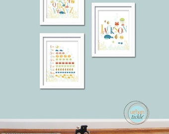Seaworld, Set of 3 Prints, Art for Child's room or Nursery - Personalized ABC and 123 Deep Blue Sea