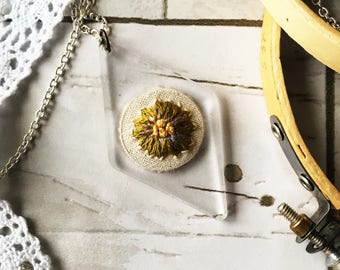 Green/Golden Flower - Hand Embroidered Acrylic Necklace
