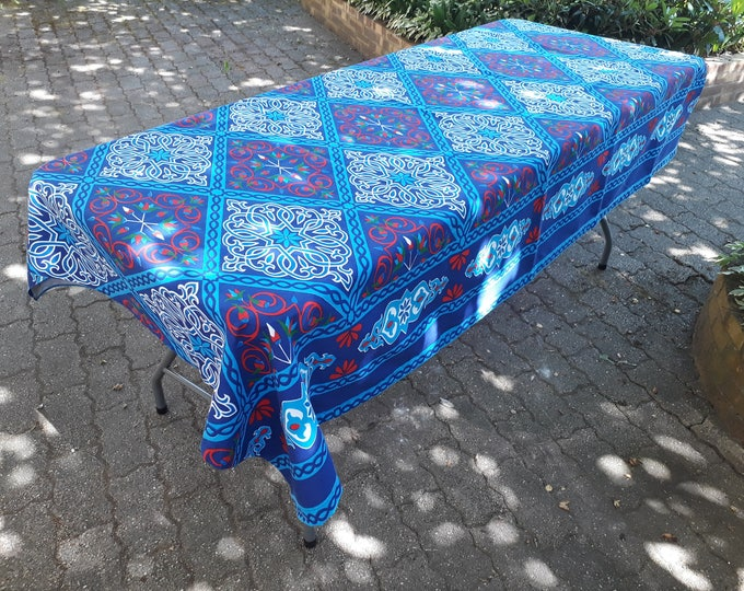 Tablecloth ethnic blue fabric khayamiya in the colors of Egypt Egyptian cotton tapestry arabesque lotus flowers thrown Chair