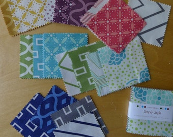 """MINI Charm Simply Style - 2 1/2"""" Square (42) Pieces - V & Co. for Moda - Modern Quilting Craft Cotton Fabric"""