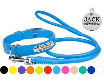 Leather Dog Collar Personalized ID Tag and Rolled Leash Set S M L XL 4 or 6 foot Lead