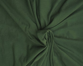 "Forest Green Cotton Fabric Jersey Knit by the Yard 69"" W 6/16"