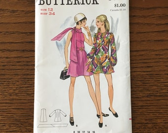 Butterick 5650 Misses Short Dress Pattern With or Without Sleeves  Size 12 Bust 34 Factory Folded