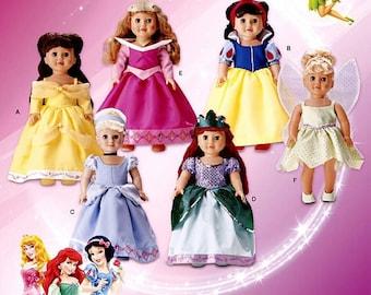 "Simplicity Pattern 1581, 18"" AG Doll, Classic Disney Princess, Belle, Tinkerbell, Cinderella, Sleeping Beauty, Snow White, Ariel, new UN-CUT"