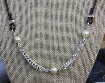 Pearl Necklace with Sterling Silver Queens Chain Chainmail Dividers - Fresh Water Pearl Necklace - Sterling Silver Necklace - Chainmail