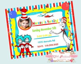 Dr Seuss birthday invitation, Dr. Seuss personalized invitation