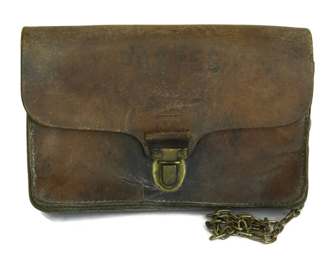 French Postman Bag. Brown Leather Postal Delivery Bag. France Poste Pouch.